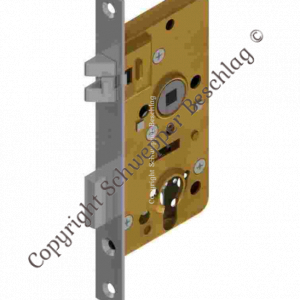 Mortise lock for cylinder with antivibration latch backset 40mm distancing 60mm with horizontal through holes Brass | GSV-No. 4040 ZK left hand