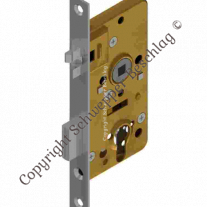 Mortise lock for cylinder with antivibration latch backset 40mm distancing 60mm with horizontal through holes Brass | GSV-No. 4040 ZK right hand