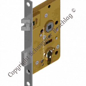 Mortise lock for cylinder with antivibration latch backset 50mm distancing 60mm with horizontal through holes Brass | GSV-No. 4040 ZK left hand