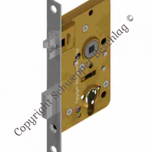 Mortise lock for cylinder with antivibration latch backset 50mm distancing 60mm with horizontal through holes Brass | GSV-No. 4040 ZK right hand