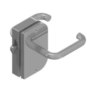 Sliding door rim lock Stainless steel for glass doors | GSV-Nr. 9714 SF left hand