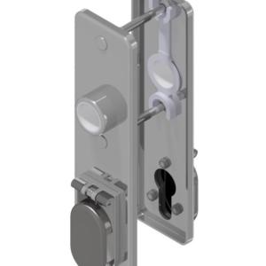 Kurzschild eckig Messing / Edelstahl mit Zylinderloch und klappbarer Blende in Entfernungen 75mm / 72mm für Einsteckschlösser   GSV-Nr. 6645 ZK