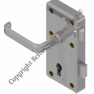 Rim lock (stainless steel) for cylinder with handle 4410 (brass) preassembled   GSV-No. 3827 Z S001 left hand inward