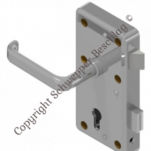Rim lock (stainless steel) for cylinder with handle 4410 (brass) preassembled   GSV-No. 3827 Z S001 right hand outward