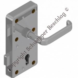 Rim lock (stainless steel) for cylinder with handle 4410 (brass) preassembled   GSV-No. 3827 Z S001 right hand inward