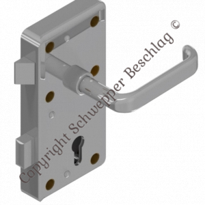 Rim lock (stainless steel) for cylinder with handle 4410 (brass) preassembled   GSV-No. 3827 Z S001 left hand outward