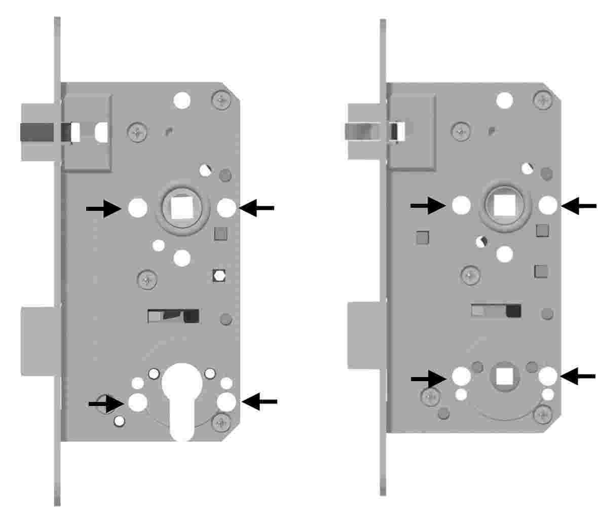Optional - Horizontale Anordnung Rosettenbefestigungslöcher
